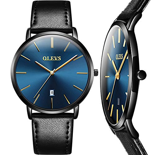 Black Leather Watch Men,Mens Dress Wrist Watch Casual Classic Mens Watch Analog Blue Dial,Ultra Slim Watches for Men,Men's Business Quartz Watch Leather Band 30m Waterproof Wrist Watches