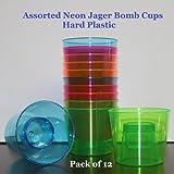 Plastic Power Bomber Shot Cups or Jager Blaster Bomb Glasses (12 Pack, Assorted Neon - Hard Plastic)