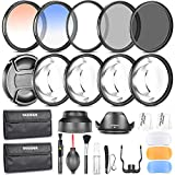 Neewer 58MM Photography Accessory Kit: Filter Set(UV+CPL+ND8)+Close-up Filter(+1/+2/+4/+10)+Graduated Color Filter+Cleaning Set+Diffuser Set+Tulip/Collapsible Lens Hood+Lens Cap+Filter Pouch