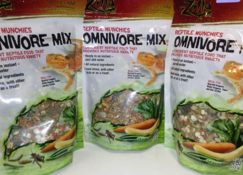 Omnivore Mix (3 PACK ZILLA FREEZE DRIED REPTILE MUNCHIES OMNIVORE MIX 4 OZ (3 BAGS FOR A TOTAL OF 12 OZ OF FOOD!))