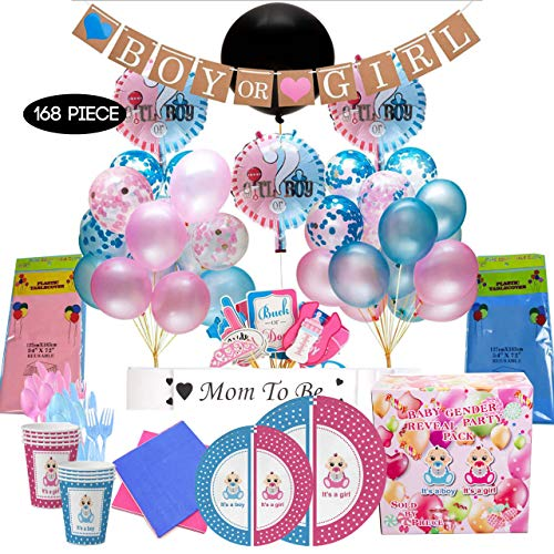 Baby Gender Reveal Party Supplies 168 Piece Set - He or She Party Decorations and Tableware. Balloons, Party Props, Banner, Mum to be Sash. Serves16 persons!!!!!!