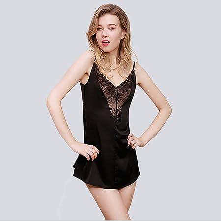 8953e0d3bb661 Lingerie sexy underwear women s pajamas suspenders T-pants silk lace V neck  halter black white