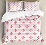 Coral Duvet Cover Set by Ambesonne, Checkered Pattern with Ancient Symbol of Fleur De Lis Royal French Lily Flower, 3 Piece Bedding Set with Pillow Shams, Queen / Full, Coral Baby Pink