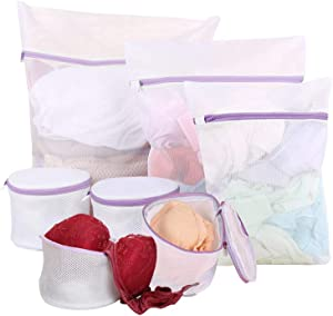 Meilala 7Pack Mesh Laundry Bags with Premium Zipper,Delicates Bra Wash Bag, Clothing Washing Bags for Laundry, Blouse, Bra, Hosiery, Lingerie,Travel (1 Large, 1 Medium, 1Small, 4 Bra Laundry Bags)