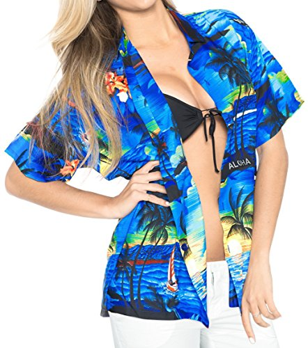 La Leela Likre Short Sleeve Button up Down Cruise Tropical Carribean Beach View Cruise Ship Blue XL