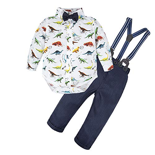 BIG ELEPHANT Baby Boys'2 Pieces Long Sleeve Dinosaur Shirt Pants Set with Bow Dinosaur C L64-C-90 18-24 Months