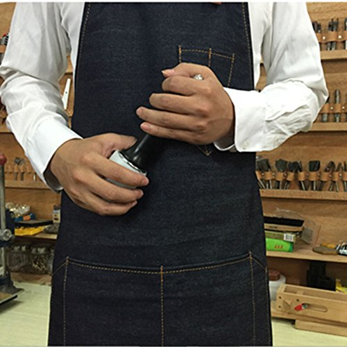 Lqchl Denim Bib Apron W/ Leather Strap Barber Barista Florist Cafe Chef Bakery Uniform Bar Tattoo Shop Workwear