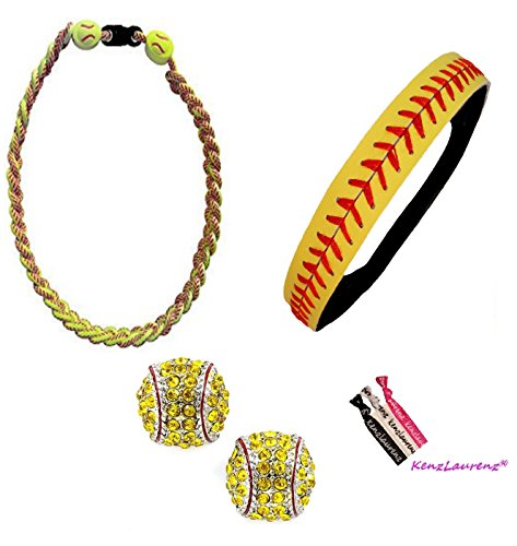 Softball Headband Set - Leather Seamed Headbands Yellow with Red Stitching, Softball Post Earrings, Softball Titanium Necklace, Hair Ties by Kenz Laurenz (Softball Set Headband Earrings Necklace) (Girls Softball Earrings)