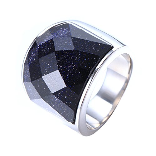 INRENG Men's Stainless Steel Blue Sky Diamond Cut Gemstone Ring 19mm Wide Wedding Band Size (Gemstone Titanium Wedding Bands)