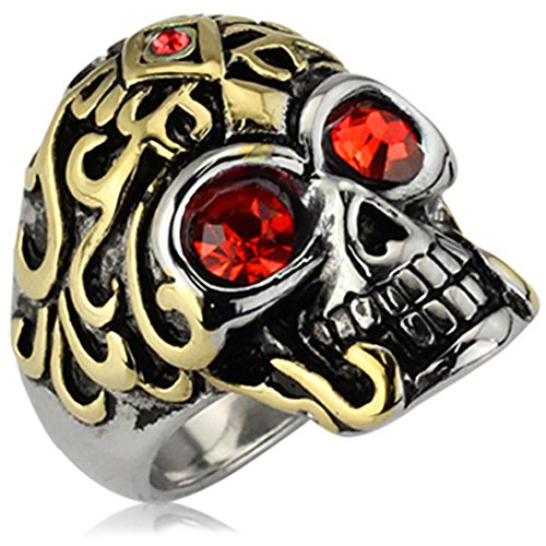 XAHH Mens Stainless Steel Vintage Punk Style Gothic Flower Skull Biker Ring with Red CZ Eye,Gold Silver