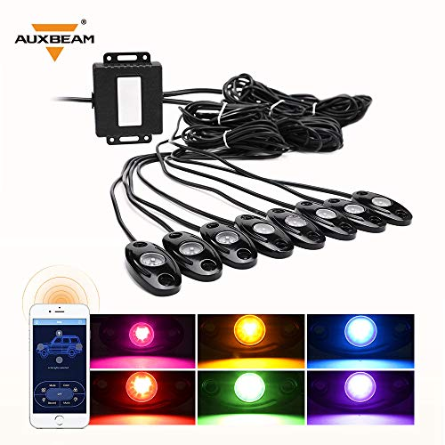 Auxbeam 8 Pods RGB LED Rock Lights with Bluetooth Controller Underglow Rock Lights Kit for Car Jeep Off Road Truck ATV SUV Boat -Multicolor Neon LED Rock Lights