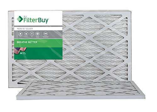AFB Silver MERV 8 12x25x1 Pleated AC Furnace Air Filter. Pack of 2 Filters. 100% produced in the USA.