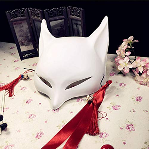 WEIZHUANGZHE Japanese Custom Wind Fox mask Painted Fox Mask Cosplay Masquerade Animal White Plastic PVC Fox Cosplay,Fox-White