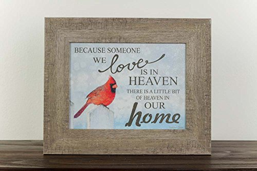 Cardinal Snow - Because Someone You Love Is In Heaven Home Red Cardinal Religious Framed Art Decor 13x16