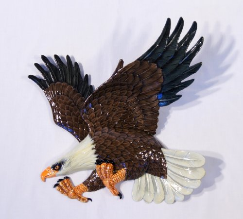 LX Hand Painted Bald American Eagle Wall Mount Decor Plaque Replica 16