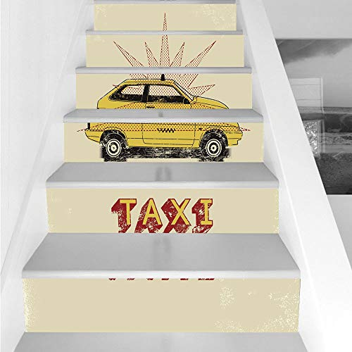 Stair Stickers Wall Stickers,6 PCS Self-adhesive,Retro,Pop Art Style Old Fashioned Taxi Cab with Grunge Effects Vintage Car Graphic Decorative,Beige Yellow Ruby,Stair Riser Decal for Living Room, Hall]()