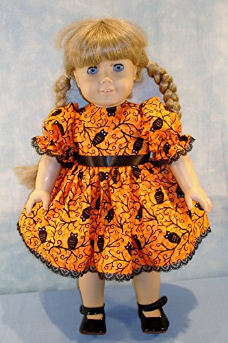 18 Inch Doll Clothes - Black Owls on Orange Halloween Dress made by Jane Ellen to fit 18 inch dolls -
