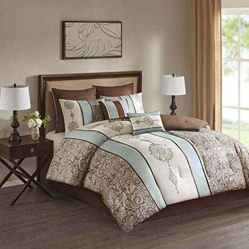 Laverna Embroidered 8 Piece Comforter Set Blue King by 510 Design