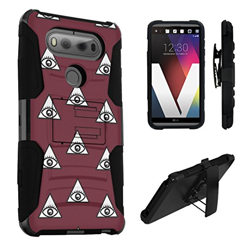LG V20 Case, DuroCase Hybrid Dual Layer Combat Armor Style Kickstand Case w/ Belt Clip Holster Combo for LG V20 (Released in 2016) - (Eye Of Providence - In Mall Providence