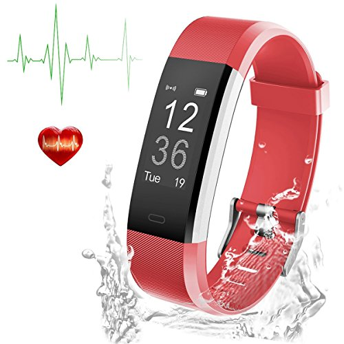 Tigerhu Fitness Tracker with Heart Rate Monitor and Sleep Monitor, Step Counter Pedometer Watch, IP67 Waterproof Smart Wristband for Kids Women and Men, Red