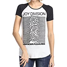Loyd D Women's Joy Division Unknown Pleasures Short Sleeve Raglan Baseball T Shirts Black