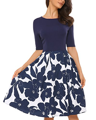 Mixfeer Women's Vintage Midi Dress Floral Scoop Neck Short Sleeve A-line Cocktail Party Swing Dress with Pockets ()