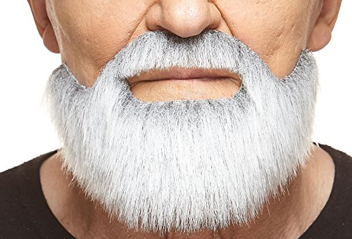 Fake Grey Beard (Mustaches Self Adhesive, Novelty, Short Boxed Fake Beard, False Facial Hair, Costume Accessory for Adults, Gray with White)