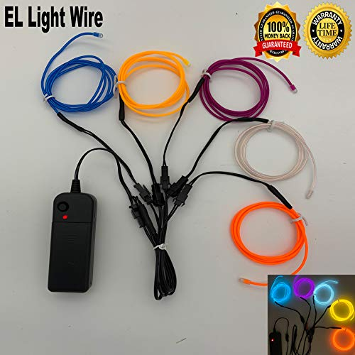El Wire Kits For Clothes (ShineWorld 4.EL Wire Kit DIY Decor Neon Lights Wire Glow Wire for Parties Halloween Christmas Dancing 5 by 1-Meter, 5)