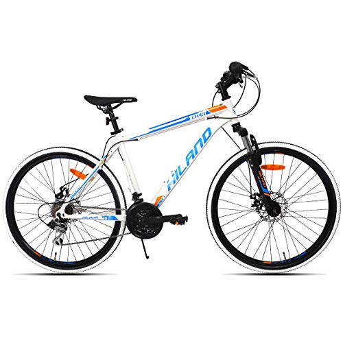 Hiland Mountain Bike, 26'' Inch Bicycle MTB with Shimano 21 Speeds, Suspension Fork Commuter Bike, White