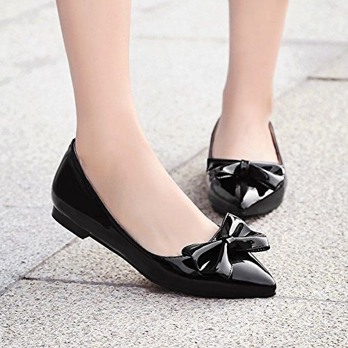 Carolbar Womens Pointed Toe Patent Leather Bows Dress Loafers Flats Black SbClto8v