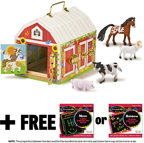 (Melissa & Doug Latches Barn: Wooden Toy Play Set & 1 Scratch Art Mini-Pad Bundle (02564))
