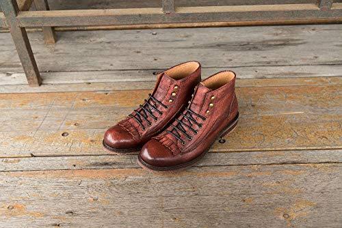 Bottes Brown Hiver Casual Mode Vintage MXNET pour High Style Hommes Size Hommes Cheville Automne Color Cut Véritable Red EU Cuir Lace Bottes Gland 43 Up R05qpax0