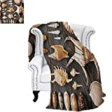warmfamily Seashells Summer Quilt Comforter Seashell Background Still Life Spiral Wooden Table Rural Rustic Country Theme Digital Printing Blanket 60'x36' Multicolor
