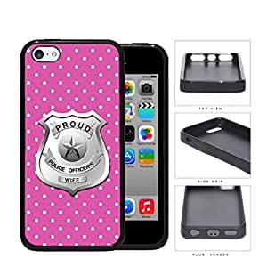 Proud Police Officer's Wife Pink Polka Dots PC Silicone Hard Cell Phone Case Apple iPhone 5c