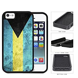 Bahamas Flag Black Triangle with Aquamarine and Yellow Horizontal Bands Grunge 2-Piece High Impact Dual Layer Black Silicone Cell Phone Case iPhone i5 5s