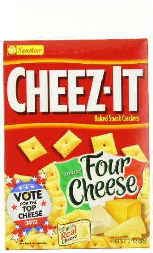 Cheez-It Baked Snack Crackers, Italian Four Cheese, 13.7-Ounce Boxes (Pack of 4)