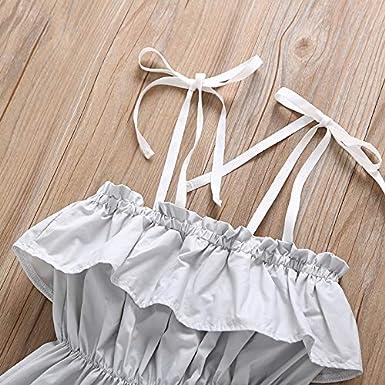 3f1b42ead30 Amazon.com  MOLYHUA Baby Girl Ruffled Tube Top Mini Dress with Shoulder  Strap Sleeveless Dress  Clothing