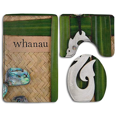 YGUII Nz Maori - Whanau - Family Theme Toilet Carpet,Fashion Bathroom Rug Mats Set 3 Piece Anti-Skid Pads Bath Mat + Contour + Toilet Lid Cover