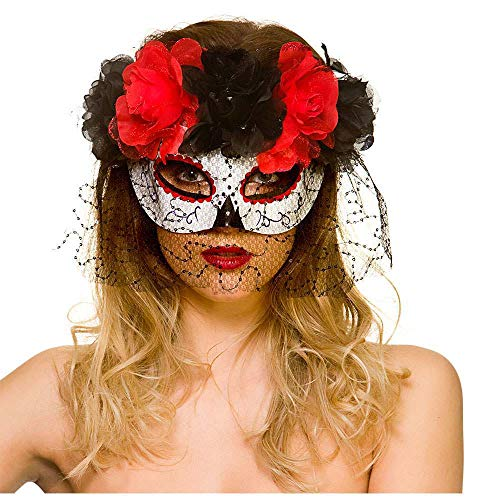 Halloween Day Of The Dead Adult Eye Mask With Black and Red Roses & Veil