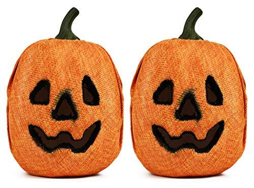 Set of 2 Halloween Light Up Pumpkins! Flashing LED Fabric Covered Jack O' Lantern! -