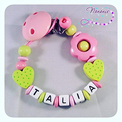 Pacifier chain with name heart big flower rose pink lemon pacifier chain with name heart big flower rose pink lemon green mightylinksfo