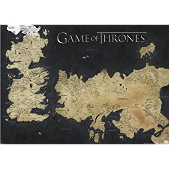 Amazon game of thrones map wall poster prints posters prints game of thrones giant xxl tv show poster map of westeros essos size 55 x 39 gumiabroncs Choice Image