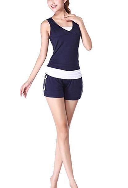 Yoga Camisetas Tops Mujer Sin Mangas Camiseta Yoga Deportivos + Pantalones Sport Pantalones Cortos Conjuntos: Amazon.es: Ropa y accesorios