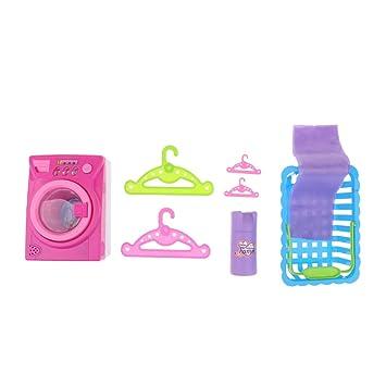 Amazon.es: Sharplace Conjunto de Baños Colgantes para Ropas Molde Máquina de Lavar con Cesta Modelo de Botella y Trapo para Casa de Muñecas: Juguetes y ...
