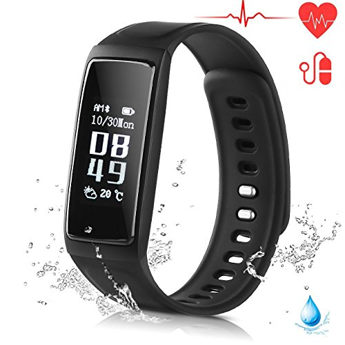 Ablue Smart Bracelet, Pedometer Heart Rate Monitor Sleep Monitor Calorie Counter Pedometer Sport Activity Tracker With HD OLED Touch Screen for Android and IOS Smart Phone (Black)