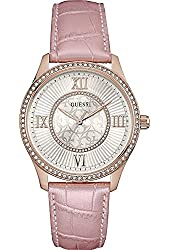 Guess Women's Broadway 39mm Pink Leather Band Steel Case Quartz White Dial Analog Watch W0768L3