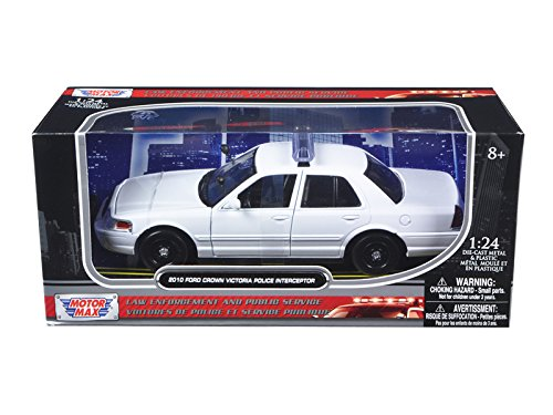 2010 Ford Crown Victoria Unmarked Police Car 1/24 White Diecast Car Model by Motormax 76469