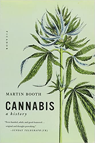Cannabis: A History by Martin Booth book cover. A light green background features black text and a delicate marijuana leaf illustration.
