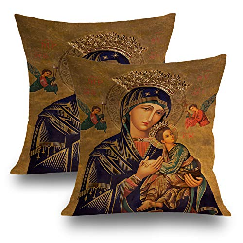 Shrahala Decorative Pillow Covers, Decorative Pillowcases 18x18 inch Set of 2 Spain Painting Lady Help Jesus Mary Mother Virgin God Cushion Case for Sofa Bedroom Car Throw Pillow Covers 45cm x 45cm