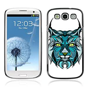 CQ Tech Phone Accessory: Carcasa Trasera Rigida Aluminio Para Samsung Galaxy S3 i9300 - Beautiful Lynx Tattoo Illustration Cat